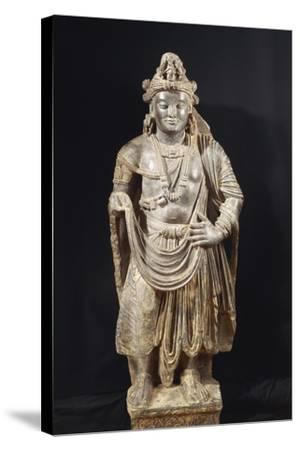 Bodhisattva, Grey Shale Greek-Style Buddhist Statue, from Peshawar Region, Pakistan--Stretched Canvas Print
