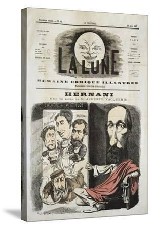 Caricature for Hernani by Victor-Marie Hugo, Cover of La Lune--Stretched Canvas Print
