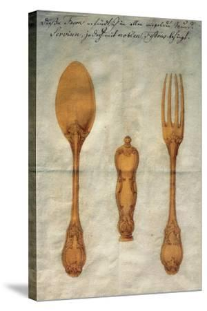 Drawing with Preparatory Study for Set of Rococo-Style Silver-Gilt Cutlery, Augusta, Ca 1750--Stretched Canvas Print