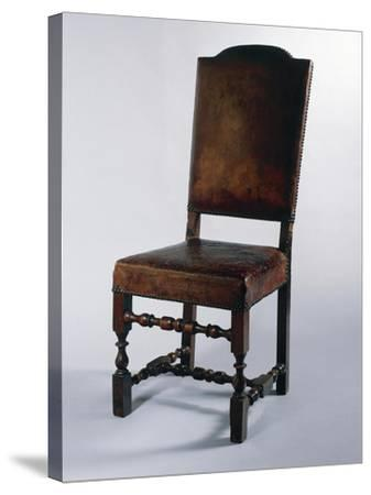 Chair with Leather Cover, Made in Parma, Soragna Castle, Emilia Romagna, Italy--Stretched Canvas Print