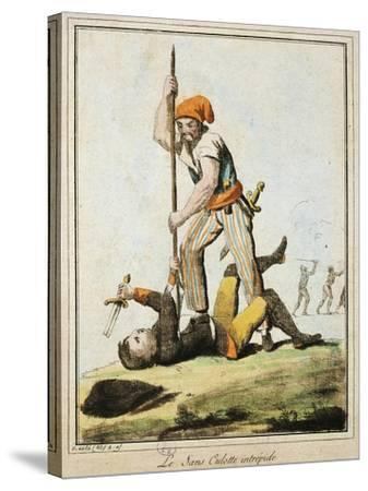 Sans-Culotte Killing One of King's Guards, French Revolution, France--Stretched Canvas Print
