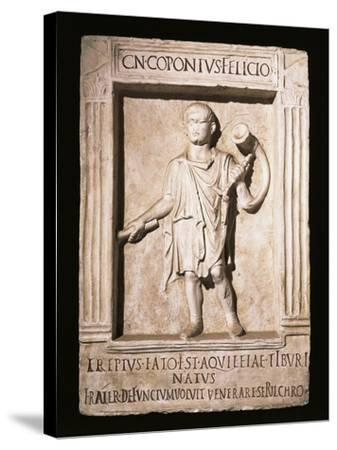 Stele of Trumpeter Cneus Coponius Felicio with Horn on Shoulder--Stretched Canvas Print