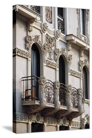 Art Nouveau Balcony of House in Piffetti 10 Bis Street, Turin, Piedmont, Italy--Stretched Canvas Print