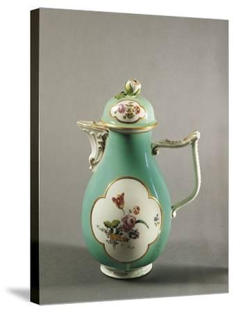 Aquamarine Coffee Pot with Floral Decoration and Gilt Freizes, 1750--Stretched Canvas Print