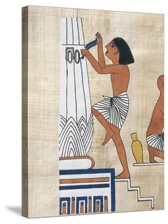 Papyrus Depicting Worker Decorating Lotus Form Pillar--Stretched Canvas Print