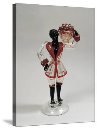 Statuette of Moor with Fruit Basket, Clear Blown Glass and Solid Glass, 1925-1930, Murano, Italy--Stretched Canvas Print