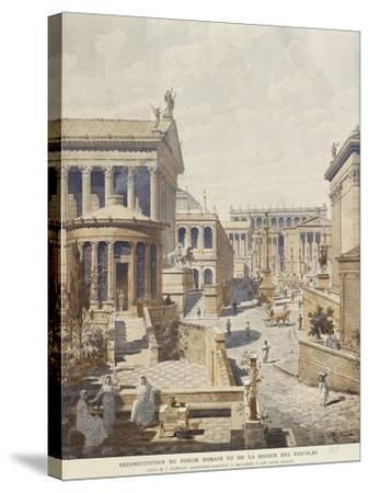 Rome, Ideal Reconstruction of the Roman Forum, the Temple of Vesta by J. Hofbauer, 1911--Stretched Canvas Print