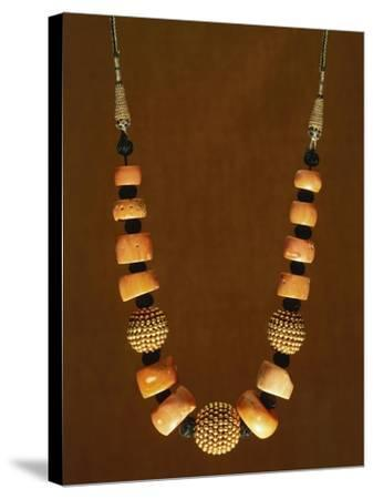 Necklace in Macro-Granular Wrought Gold and Coral, Yemen, 19th-20th Century--Stretched Canvas Print