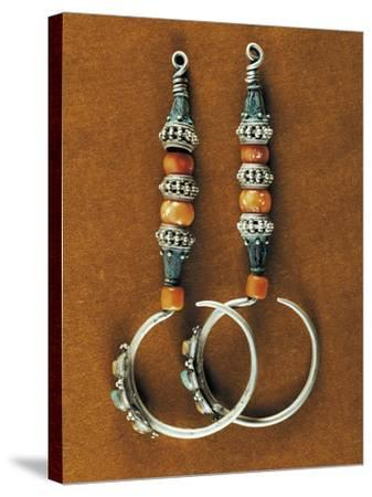 Earrings in Sterling Silver, Coral and Turquoise, Region of Tibet, Early 20th Century--Stretched Canvas Print