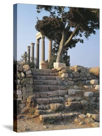 Lebanon, Byblos, Roman Colonnade--Stretched Canvas Print