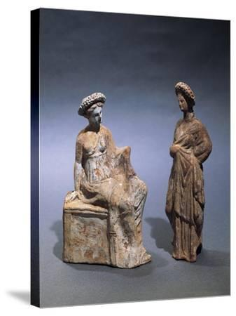 Libya, Cyrene, Terracotta Tanagrine Funeral Statuette in Form of Female Figures--Stretched Canvas Print