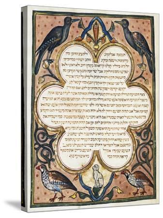 Page of Hebrew Bible Illuminated by Joseph Assarfati, Cervera Bible Manuscript, 1299--Stretched Canvas Print