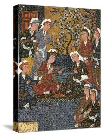 Safavid Persian Prince at Court, Miniature from a Persian Manuscript, 1650--Stretched Canvas Print