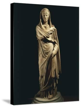Marble Statue Portraying Roman Matron, from Colony of Cirta, Algeria--Stretched Canvas Print