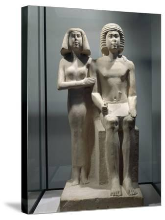 Limestone Sculptural Group Depicting a Married Couple--Stretched Canvas Print