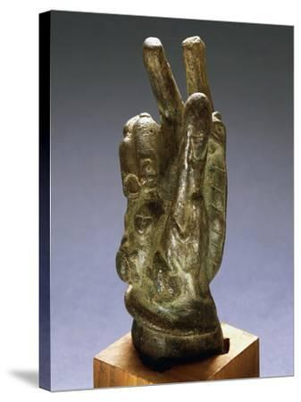 Hand-Shaped Bronze Amulet with Apotropaic Symbols--Stretched Canvas Print