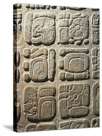 Mexico - Palenque Archaeological Site - Stone with Non-Coded Hieroglyphics--Stretched Canvas Print