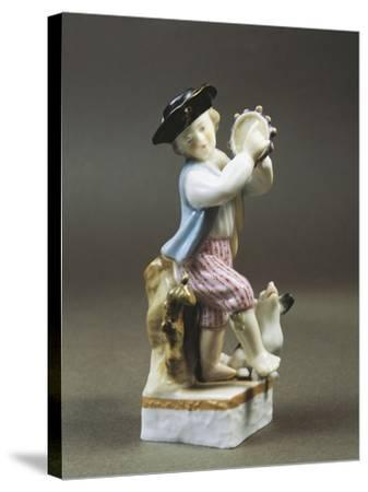 Porcelain Figurine of Young Tambourine Player, Paris Production--Stretched Canvas Print