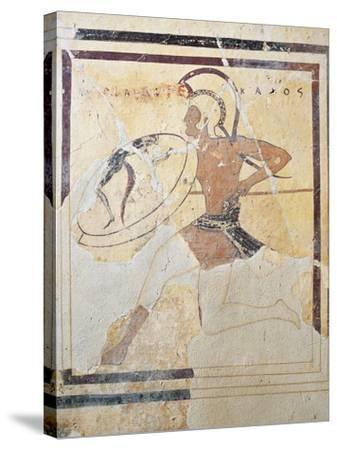 Terracotta Plaque with Armed Hoplite Running--Stretched Canvas Print
