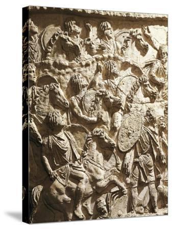 Roman Civilization, Plaster Cast of Trajan's Column, Mauritanian Horsemen--Stretched Canvas Print