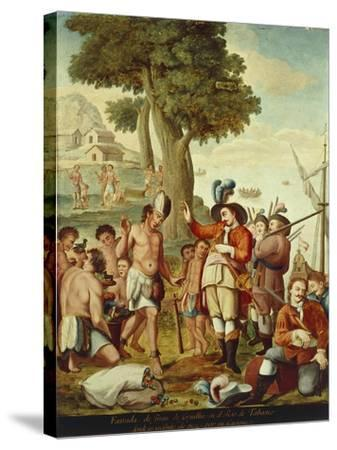 Juan De Grijalva Disembarks in the Province of Tabasco and Is Greeted by a Cacique Indian Chief--Stretched Canvas Print