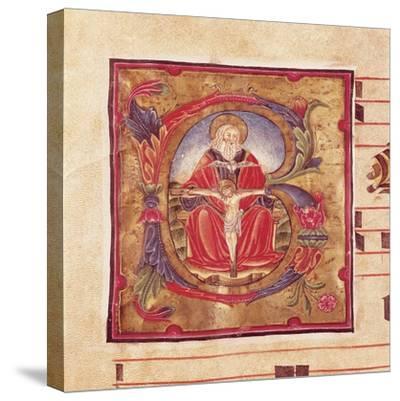 The Holy Trinity, Miniature by Reginaldo Piramo from Choral, Latin Manuscript 16th Century--Stretched Canvas Print