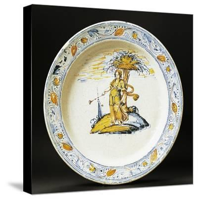 Plate Decorated with Female Figure, Ceramic, Faenza Manufacture, Emilia-Romagna, Italy--Stretched Canvas Print