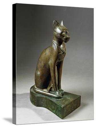 Bronze and Gold Statuette of Goddess Bastet as a Cat, also known as the Psamtik Cat--Stretched Canvas Print