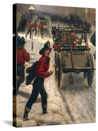New York Street in 1840 Covered with Snow--Stretched Canvas Print