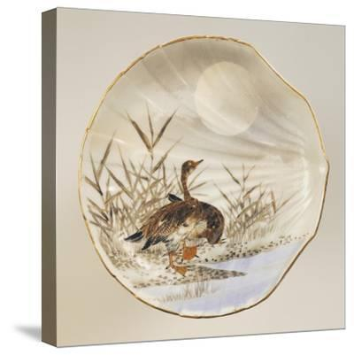 Shell Shaped Plate Decorated with Birds and Landscape, Porcelain--Stretched Canvas Print
