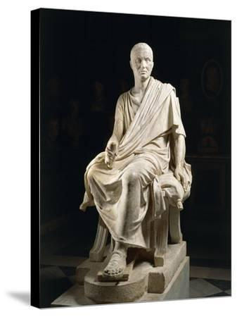 Marble Statue of Seated Claudio Marcellio--Stretched Canvas Print