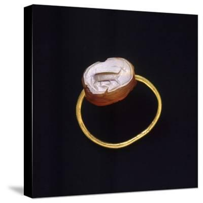 Engraved Agate and Gold Ring. Etruscan Civilization--Stretched Canvas Print