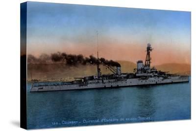 Französisches Kriegsschiff Courbet, Cuirassé--Stretched Canvas Print