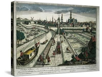 Netherlands, Haarlem, View of the Canal--Stretched Canvas Print