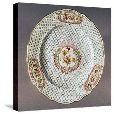Lobed Plate with Floral Compositions on Seeded Floral Background--Stretched Canvas Print