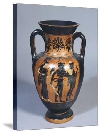 Attic Amphora Representing Hercules, Athena and Hermes--Stretched Canvas Print