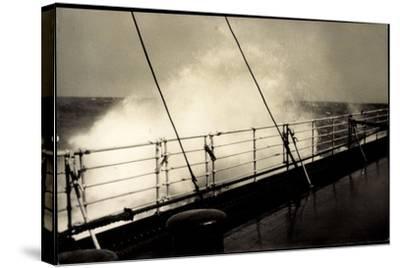 Hapag, Seestück, Dampfer Im Seegang, Wellen an Deck--Stretched Canvas Print