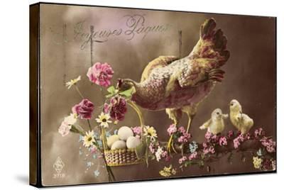 Frohe Ostern, Huhn, Küken, Ostereierkorb, Ast, Blumen--Stretched Canvas Print