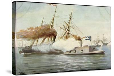Künstler Rave, C., Futur. Kriegsschiff, Segelschiffe--Stretched Canvas Print