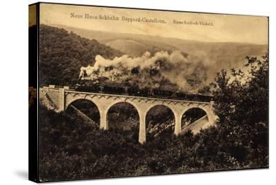 Boppard, Hunsrückbahn, Rauschenloch Viadukt,Dampflok--Stretched Canvas Print