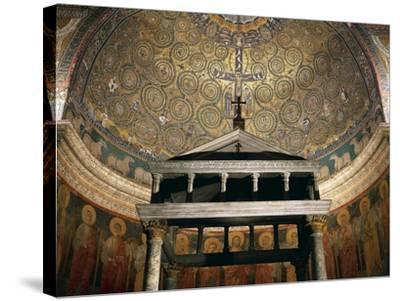 Triumph of Cross, Mosaic from Medallion of Apse, Basilica of St Clement, Rome. Italy, 12th Century--Stretched Canvas Print