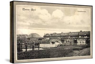 Weener Ems, Blick Auf Die Eisenbahnbrücke, Eisenbahn--Stretched Canvas Print