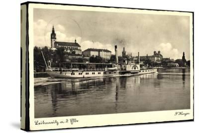 Leitmeritz Elbe Region Aussig, Dampfer Lössnitz, Ort--Stretched Canvas Print