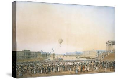 France, Versailles, Arrival of Louis XVIII, the Crossing of the Pont Neuf--Stretched Canvas Print