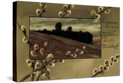 Präge Künstler Mailick Frohe Ostern, Kätzchen, Feld--Stretched Canvas Print