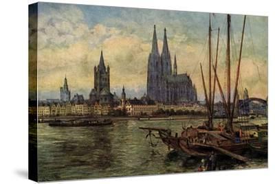 Künstler Rüdell, K., Köln Rhein, Blick Zum Dom,Boote--Stretched Canvas Print