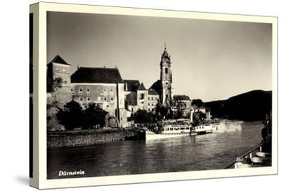 Dürnstein Niederösterreich, Blick Ü. Wasser, Dampfer--Stretched Canvas Print