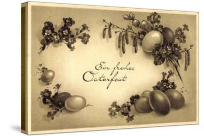 Glückwunsch Ostern, Kranz Aus Eiern, Weidenkätzchen--Stretched Canvas Print
