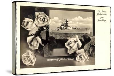 Glückwunsch Geburtstag, Panzerschiff Admiral Scheer--Stretched Canvas Print