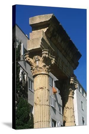 Spain, Catalonia, Tarragona, Ruined Columns at Roman Forum--Stretched Canvas Print